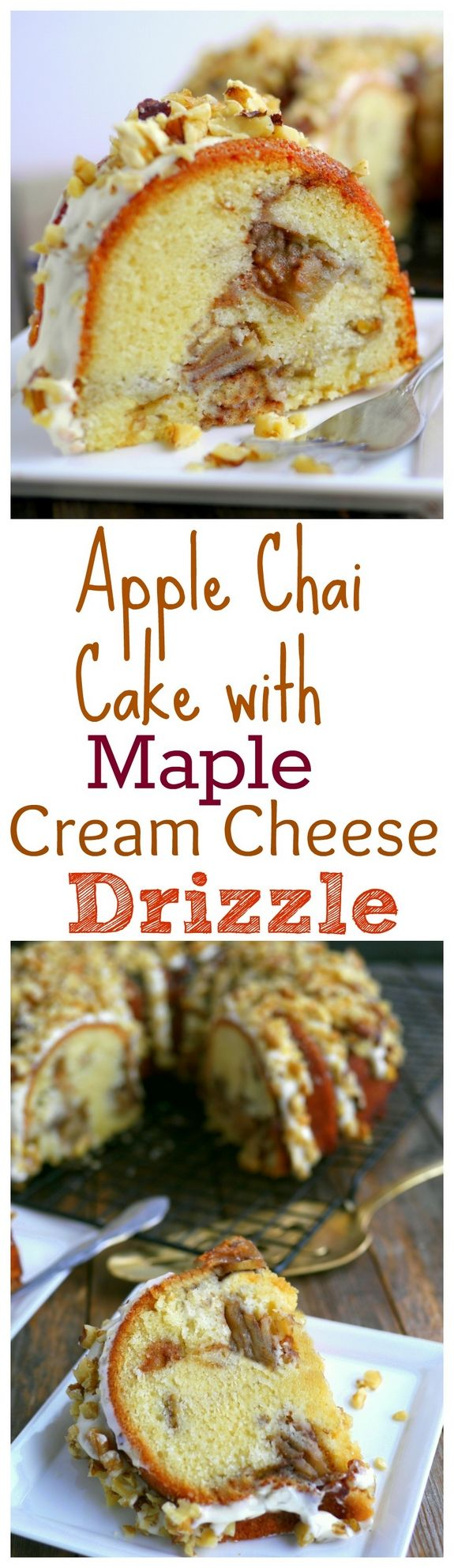Apple Chai Cake with Maple Cream Cheese Drizzle from NoblePig.com.