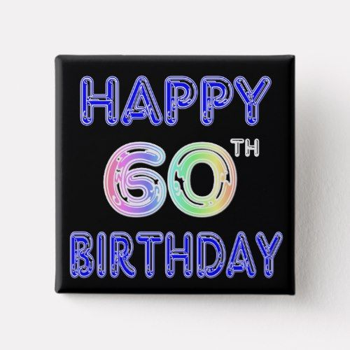 Happy 60th Birthday Gifts In Balloon Font Button