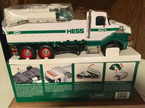 2017 Hess Dump Truck. 2017 Hess Dump Truck and Loader has 350 parts, this construction duo is the heaviest and most complex Hess Toy Truck ever! is a powerful partnership of heavy-duty earth movers.  The self-propelled, multi-direction powered Loader has a 270° rotating cab with a side-mounted extending boom featuring a jointed excavator arm and bucket combination that can bend and swivel in just about any direction. 2 top-mounted switches activate the lights and the motorized tracks in…