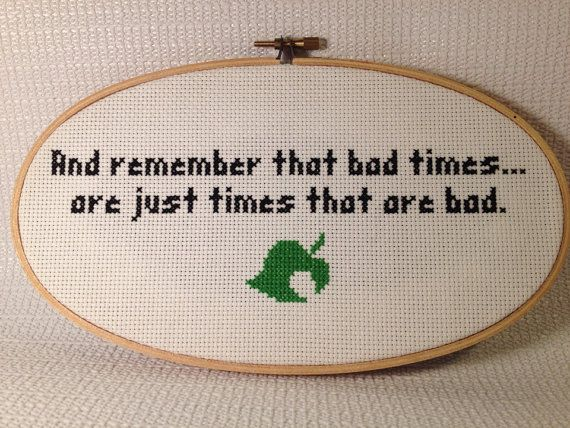 Hand Stitched Animal Crossing Quote on Etsy, $18.00