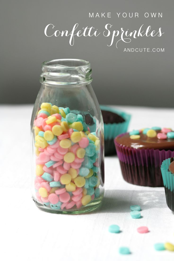 Make your own Bottle of Homemade Confetti Sprinkles- Put them on a cake, cupcakes or cookies or throw them along the center of the table for decoration and for your guests to eat!