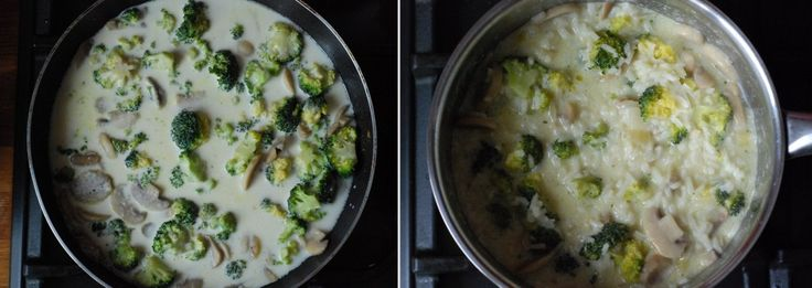 risotto z pieczarkami i brokułem