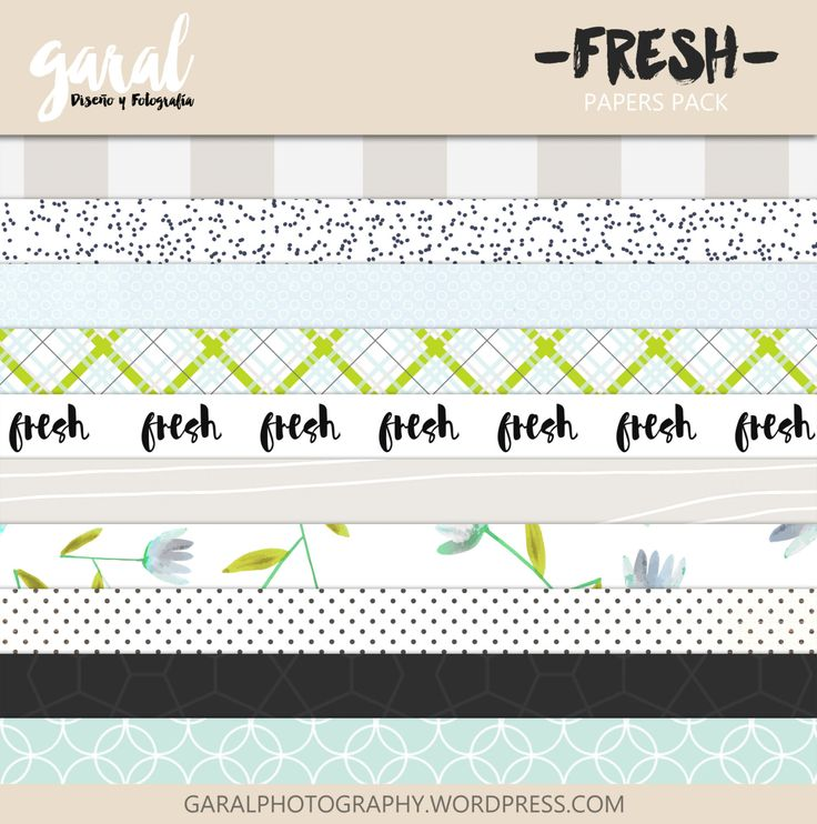FRESH Scrapbook Papers Instant Download 10 Digital Paper Pack. 12'x12' pattern prints Background marcegaral 4.99 USD