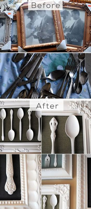 Trash Into Treasure, Silverware Artwork - DIY Home Decorating on a Budget - Click for Tutorial