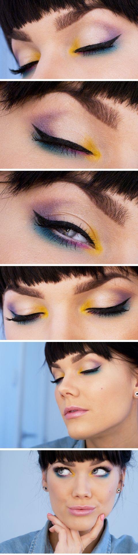 Linda Hallberg : make up insp : yellow blue pink nude shadows :