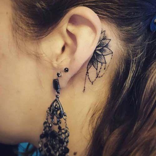 kulak arkası mandala dövmesi behind ear mandala tattoo