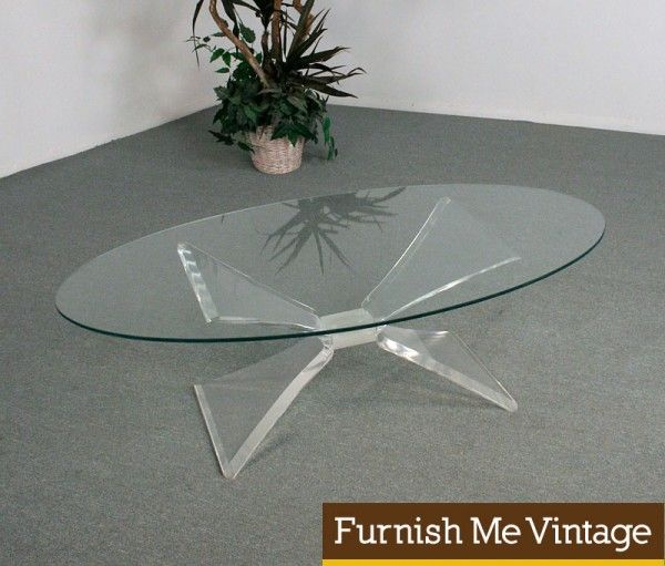 Great Mid Century Modern Lucite Butterfly Coffee Table