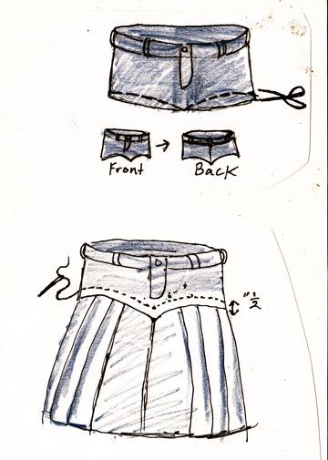 recycle jeans into pleated denim skirt