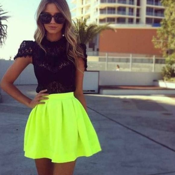 Neon Yellow skater skirt This neon yellow shirt is sure to catch attention. Worn only once for a bachelorette party & in great condition. One small black mark on left side toward bottom. Came like that from the store but I never noticed until I started taking the pics. Skirts Circle & Skater