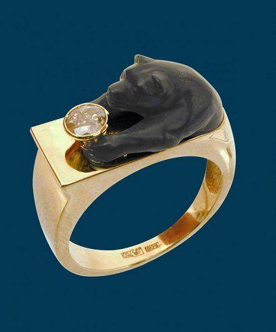 Jasper Bear on Gold Jewels by Rashid резная фигурка медведя яшма, золото, бриллиант 1,2 карата
