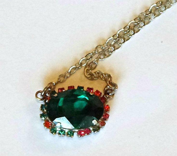 Swarovski Crystal 18X13mm oval fancy stone pendant necklace emerald #swarovski