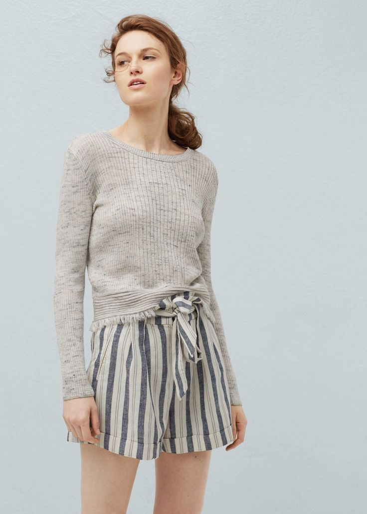Striped linen-blend bermuda shorts -  Women | MANGO USA