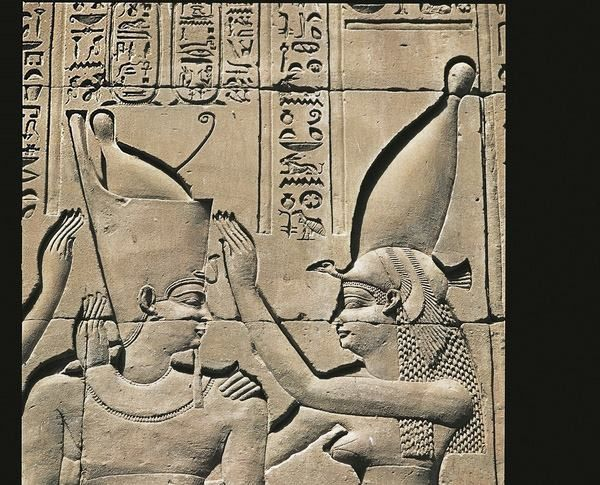 Detail of Ptolemy III Euergetes and goddess at Temple of Horus, Edfu. Ptolemaic Dynasty, c. 305-30 BC.