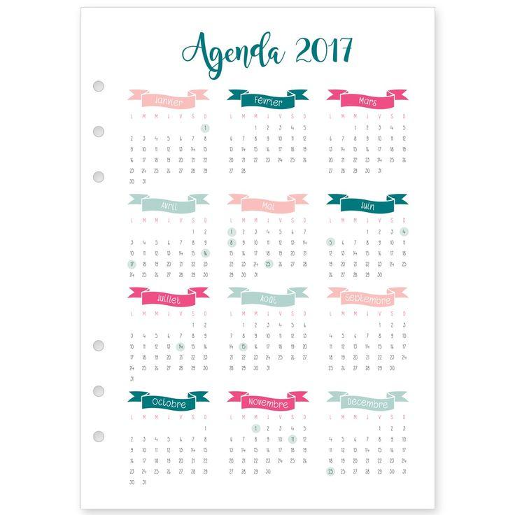 Recharge 2017 de janvier à décembre pour agenda type Filofax®, Kikki K®, format A5 (148 x 210 mm) et format Personal (95 x 170 mm). Calendrier annu...