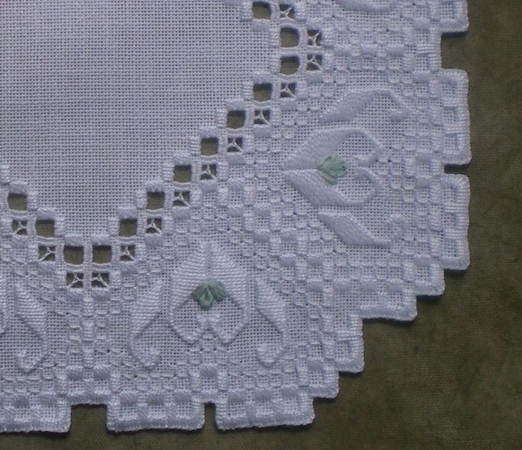 Hardanger Square Centerpiece with Silk Ribbon. $37.50, via Etsy. I like that this has a lot of white on white, that it isn't all pulled threads