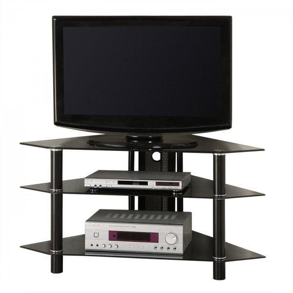 "Bermuda Black Glass TV Stand - holds up to 48"" Plasma/LCD (Black) (22""H x 24""W x 44""D)"