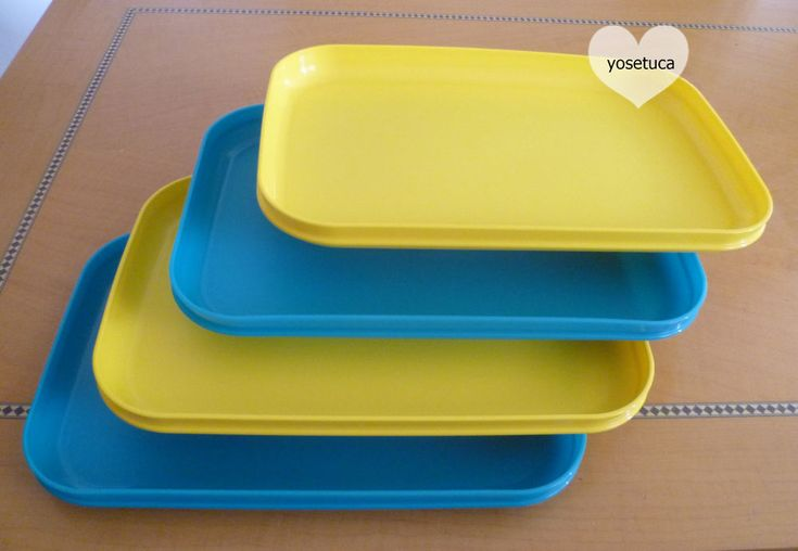 Tupperware Free Shipping New 4 Dishes Rectangular Classic Plates Raised Edges  #Tupperware