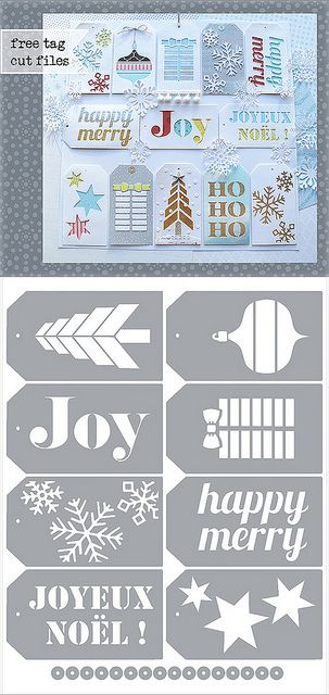 Christmas Tags - free Silhouette .studio & SVG cutting files - 570px by melstampz, via Flickr