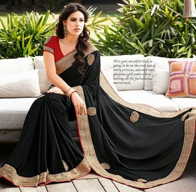 USD 67.27 Black Chiffon Butta Work Party Wear Saree     36957