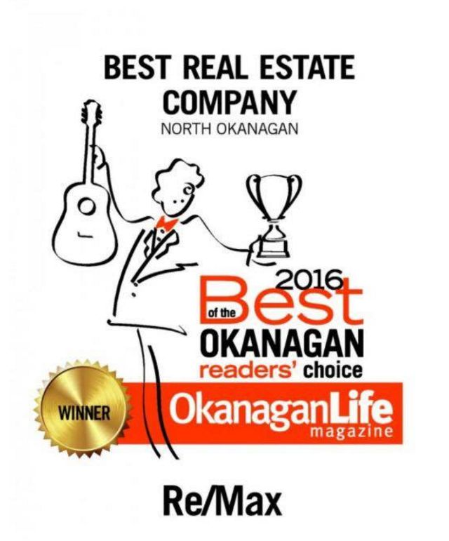 RE/MAX is voted Best Real Estate Company in the North Okanagan! #Remax #Community #RealEstate