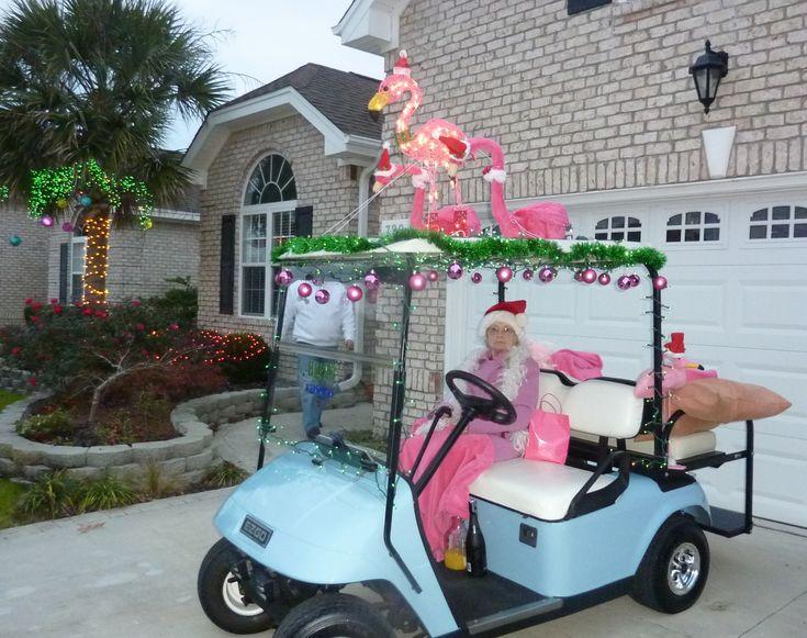 Golf cart parade flamingos I love the mimosa ingredients!