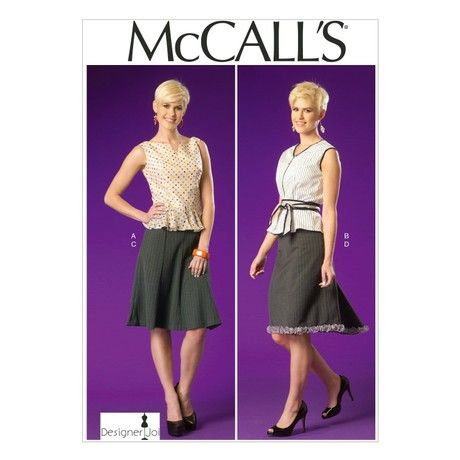 McCall's Patterns MC7017 A5 Sizes 6/ 8/ 10/ 12/ 14 Misses Tops Belt and Skirts, White