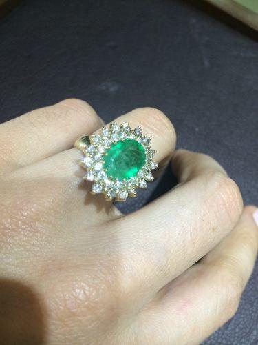 Anel De Esmeralda Colombiana E Diamantes Pronta Entrega