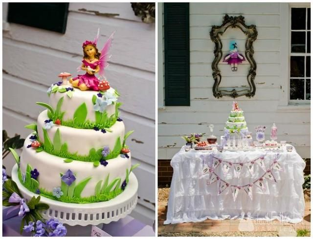 Gorgeous cake at a Fairy party!  See more party ideas at CatchMyParty.com!