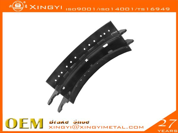4715 Brake Shoe,brake pads We are manufacture of brake shoes, we covers Japanese, European, Korean,US trucks. •web welding wethod:5、7Segments,Full bead•High precision technics:Radius precision Effective throat>3.74•Heat treament:HRS:35-45 hardness•Surface treatment:0.08-0.15mmthick•180 to 360 hours salt spray test,fatigue test, tensile test, metallographic analysis, element test, chromatic aberration test•Reline able 5-6times reuse guranteed•Original place: CHINA .xingyi@xingyimetal.com