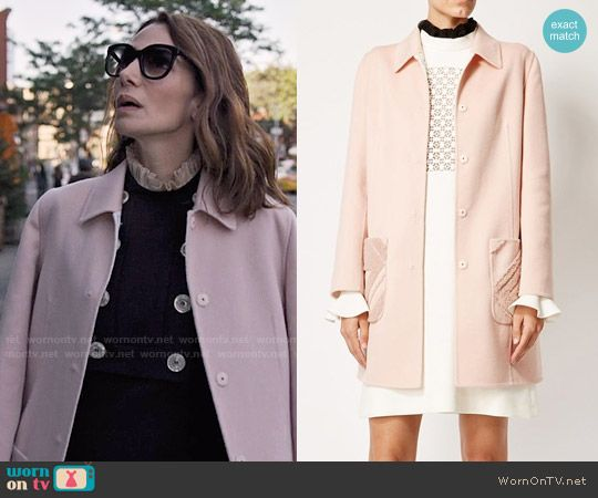 Sam's pink coat on Friends from College.  Outfit Details: https://wornontv.net/75378/ #FriendsfromCollege