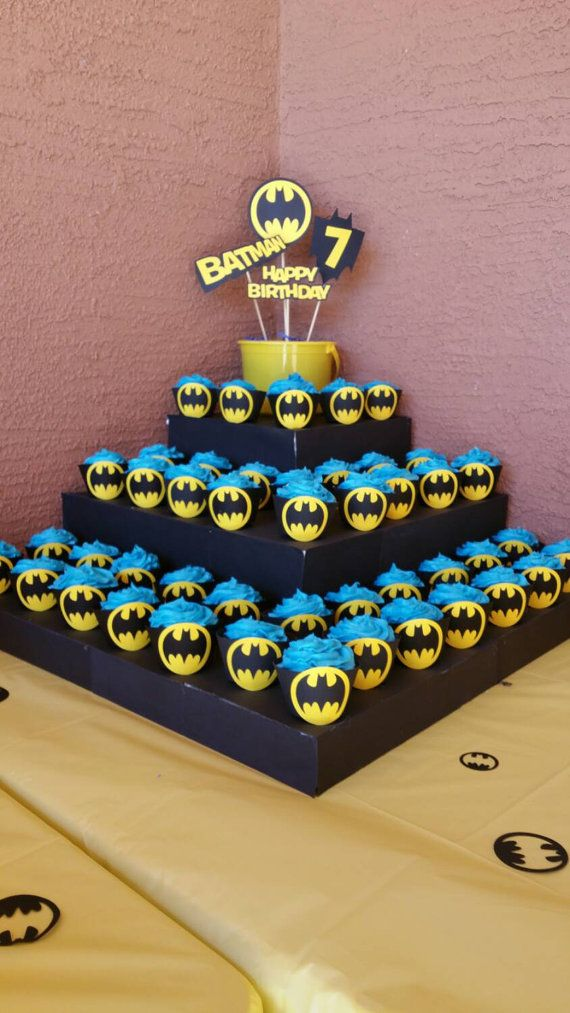 Batman Cupcake Wrappers 12 count Batman birthday party by JazzyBug