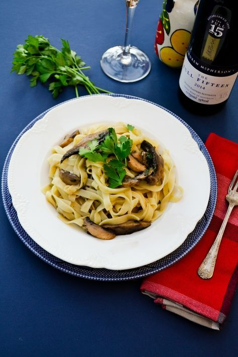 Garlicky mushrooms and fresh herbs tossed through freshly cooked tagliatelle. Recipe from Italian chef Gennaro Contaldo for Bertolli. Veggie and vegan recipes.