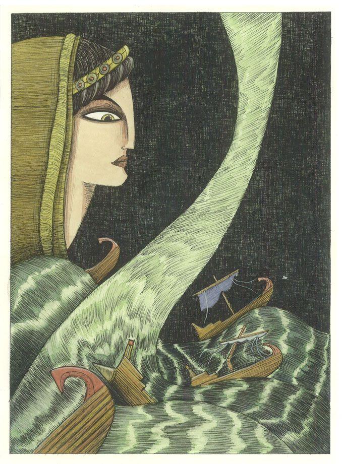 """Marco Lorenzetti illustration for """"Enea, un eroe venuto da lontano""""."""