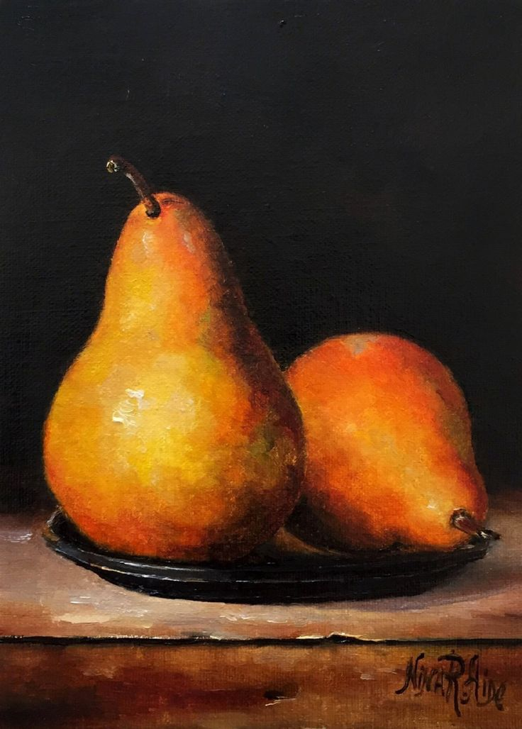 Pears Still Life Pears on Plate Original Oil Painting Nina R.Aide  Fruit Small Painting Canvas 7x5 Fine Art Chiaroscuro by NinaRAideStudio on Etsy #bosc#pears#oil painting#fruit