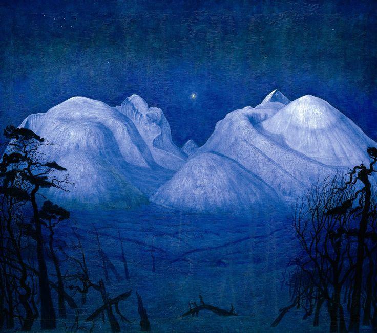 Vinternatt i Rondane (Winternight in the Mountains 1914) by Harald Sohlberg (1869 – 1935).