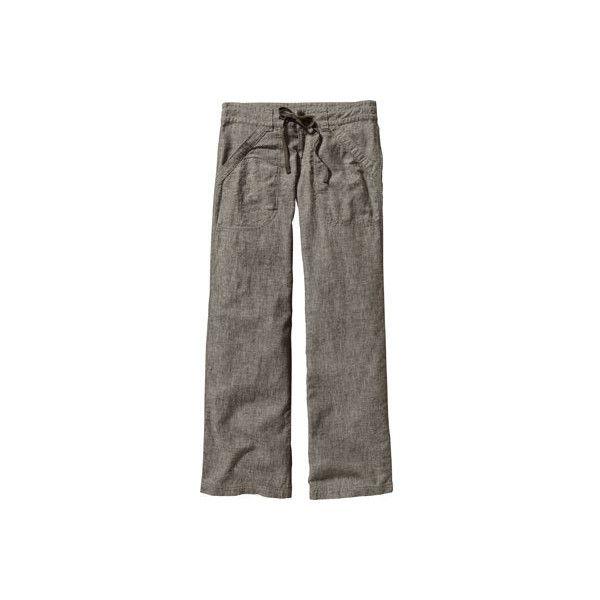 Women's Patagonia Island Hemp Pants Reg - Chambray Basin Green... ($85) ❤ liked on Polyvore featuring pants, chambray basin green, zipper pocket pants, drapey pants, brown pants, loose fitting pants and zip pants