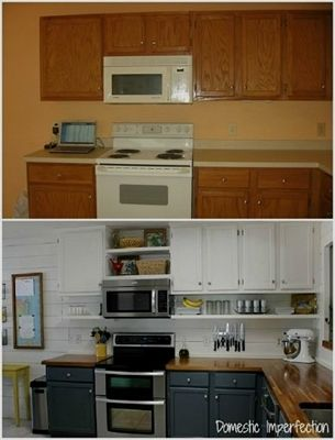 Budget Kitchen Remodel (idea move current cabinets up, add shelf