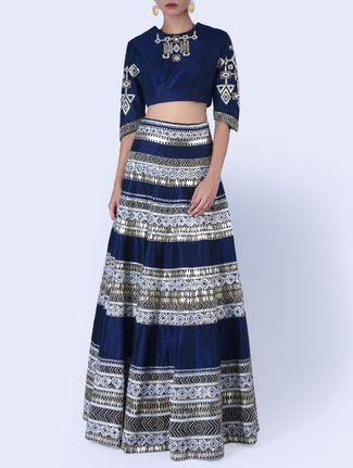 Buy Vansham Navy blue raw silk lehenga set Online, , LimeRoad