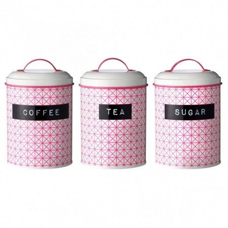 Set Of 3 Pink Storage Containers