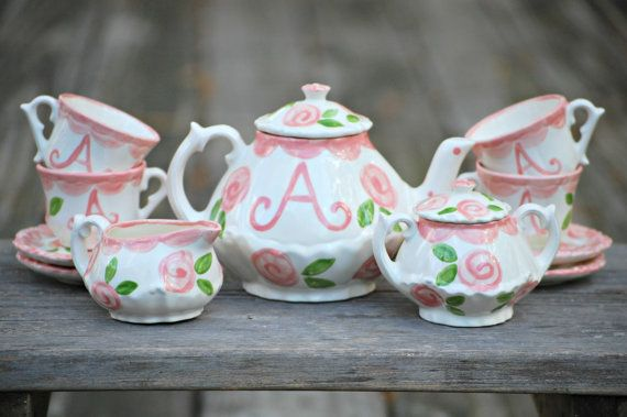 Tea set Personalized for Little girls // child's by hollyslay