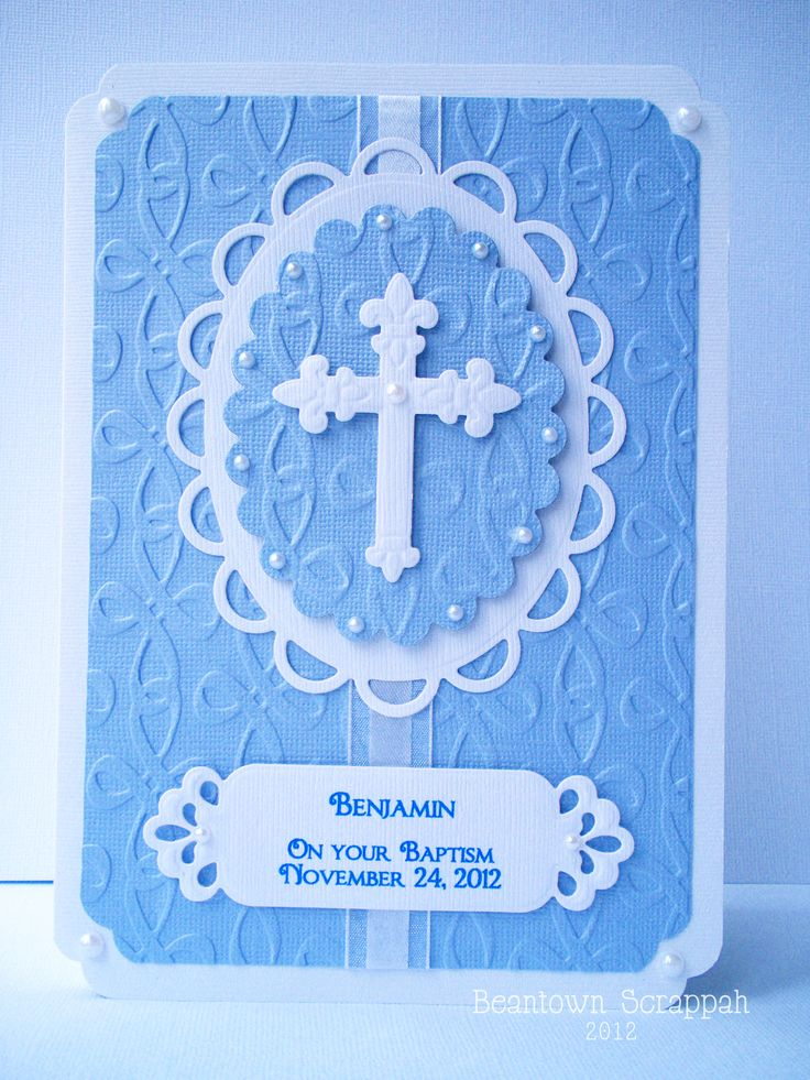 Baptism handmade card in blue.