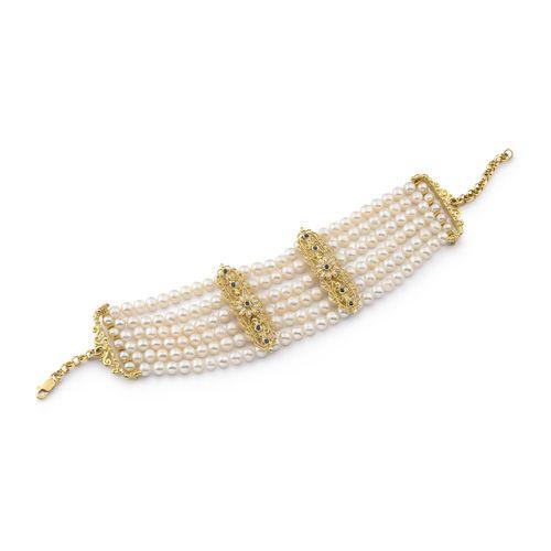 Collana RICAMI in oro 18kt con microperle, perle coltivate, rubini e zaffiri - 14166