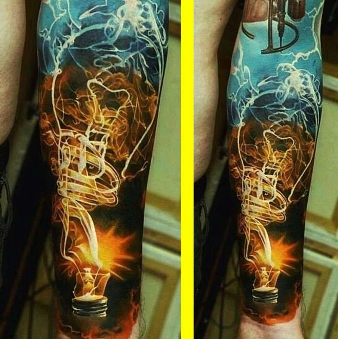 15 Awesome Sleeve Tattoos Designs: #tattoo #tattoos #ink #inked #art #bodyart #lightning
