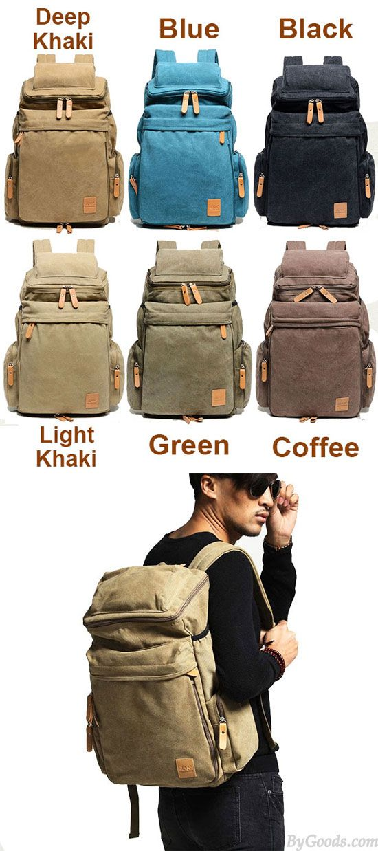 Which color do you like? Retro Camping Zippered Backpack Washing Color Canvas Extensible Large Capacity Travel Backpacks #retro #backpack #large #travel #bag #rucksack #college #school