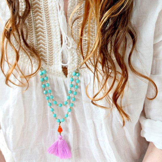 Aqua Bead Strand and Tassel Necklace, Lilac Tassel Necklace, Boho Long Necklace