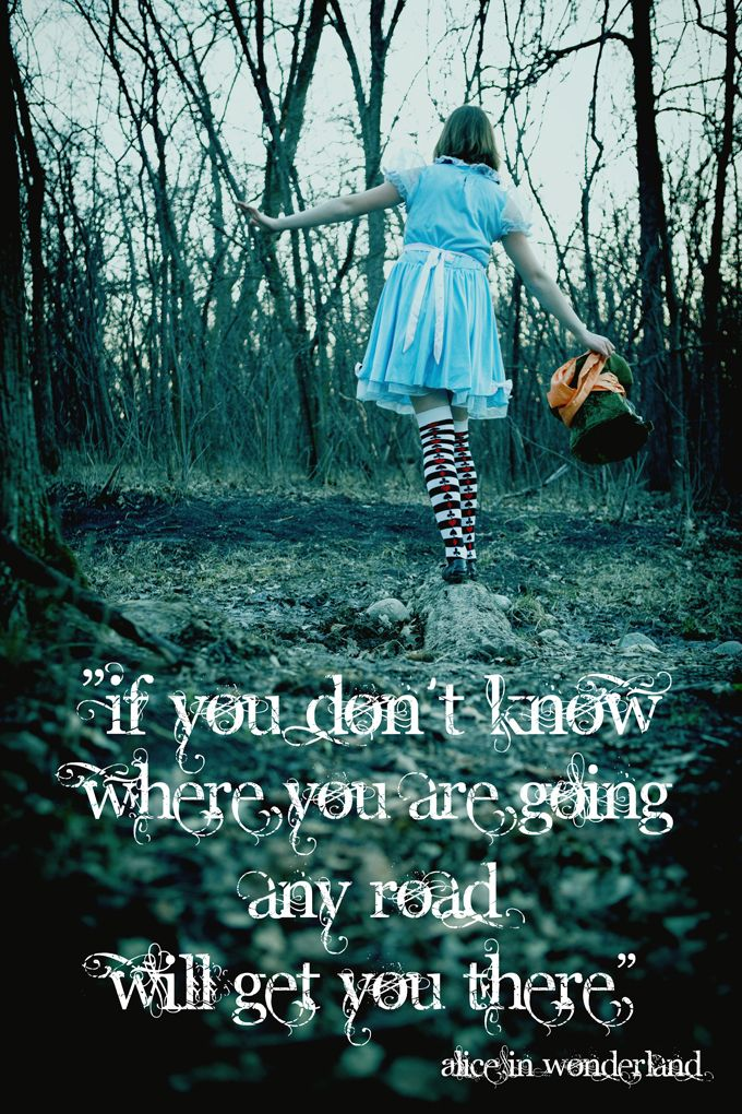 """""""If you don't know where you are going, any road will get you there"""""""
