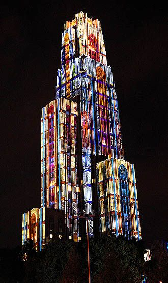 The Cathedral of Learning, the tallest academic building in the US...getting colorful.  | university of pittsburgh, oakland, pa