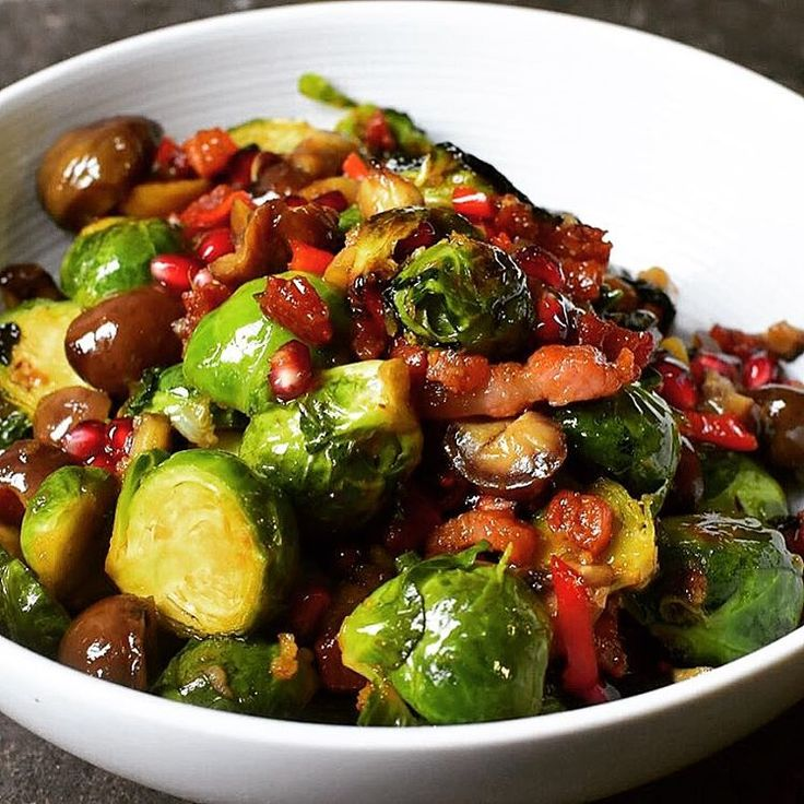 That's the famous Brussels with chestnut, pancetta and pomegranate from the Ottolenghi Thanksgiving menu.