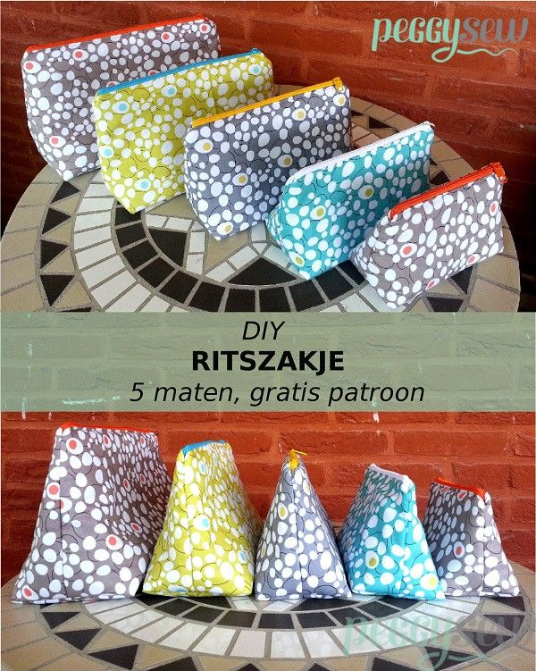 DIY, Multifunctioneel ritszakje, gratis patroon in 5 maten | Peggy Sew