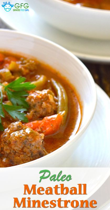 How to Make an Easy Paleo Italian Meatball Minestrone Soup Recipe | https://www.grassfedgirl.com/make-easy-paleo-italian-meatball-minestrone-soup-recipe/